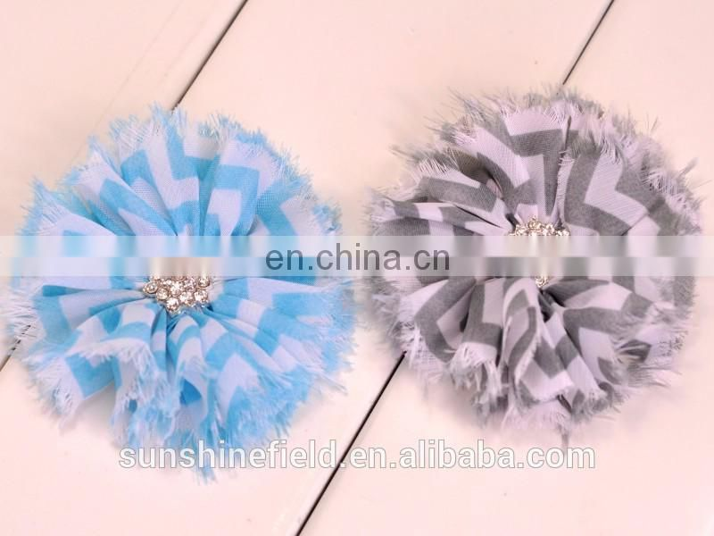 "3""Chevron Chiffon Shabby Flowers with Starbeurst Botton QueenBaby"