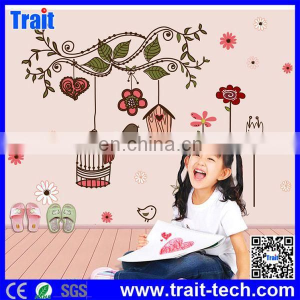 Cute Birdcage Flowers Pattern DIY Removable PVC Decals Wall Stickers for Children Room