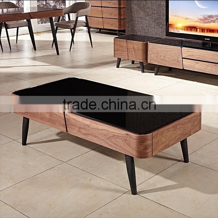 Modern Design Furniture Black Glass Center Tea Tablewooden Tea