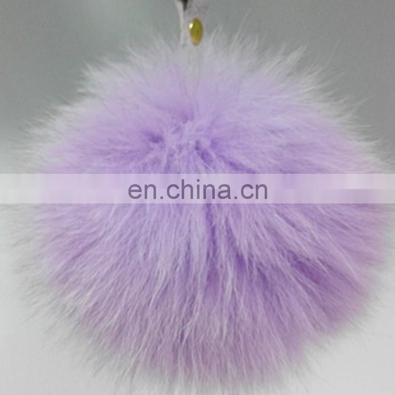 Direct selling pompon key chain high quality fox fur key ring bag charm wholesale china