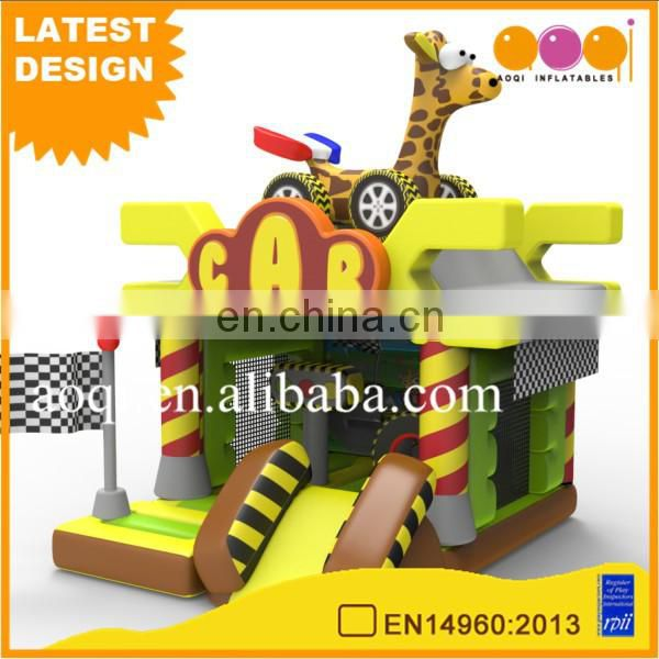 PVC inflatable toy game entertainment for children giraffe car combo bounce slide for sale