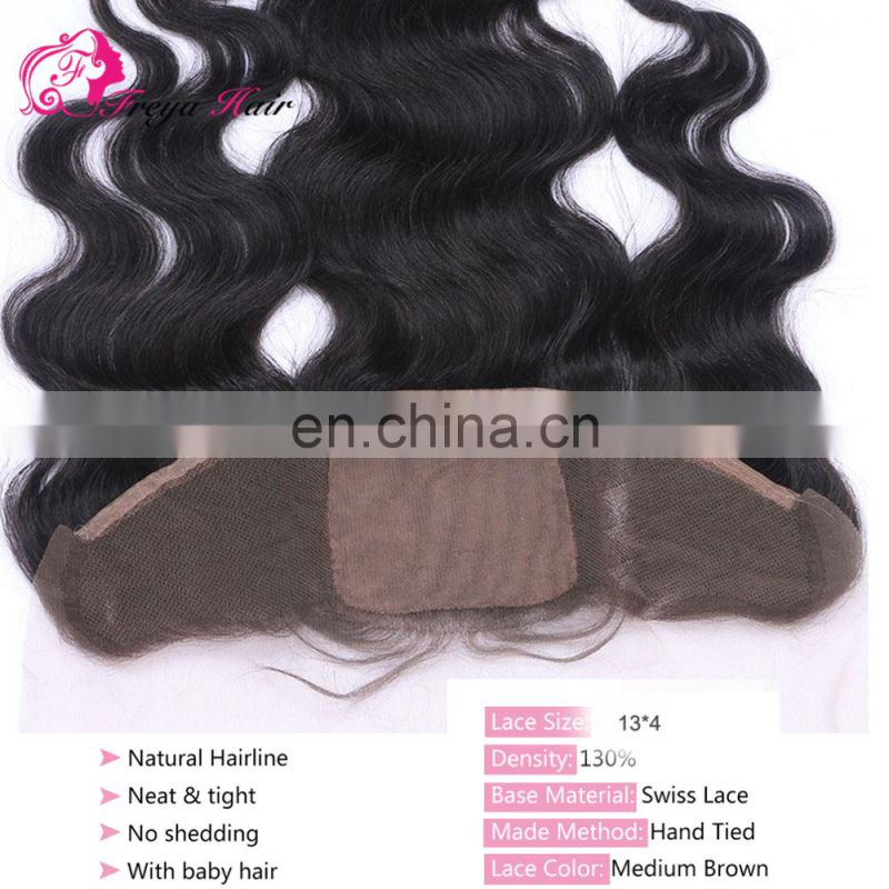 Alibaba hot selling large stock wholsale Malaysian hair lace frontals with baby hair