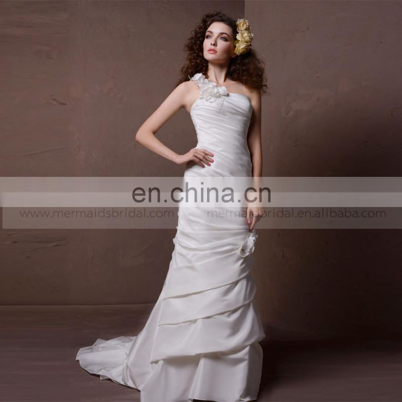 Elegant Mermaid One Shoulder Flowers Pleated Wedding Dress Sweep Train