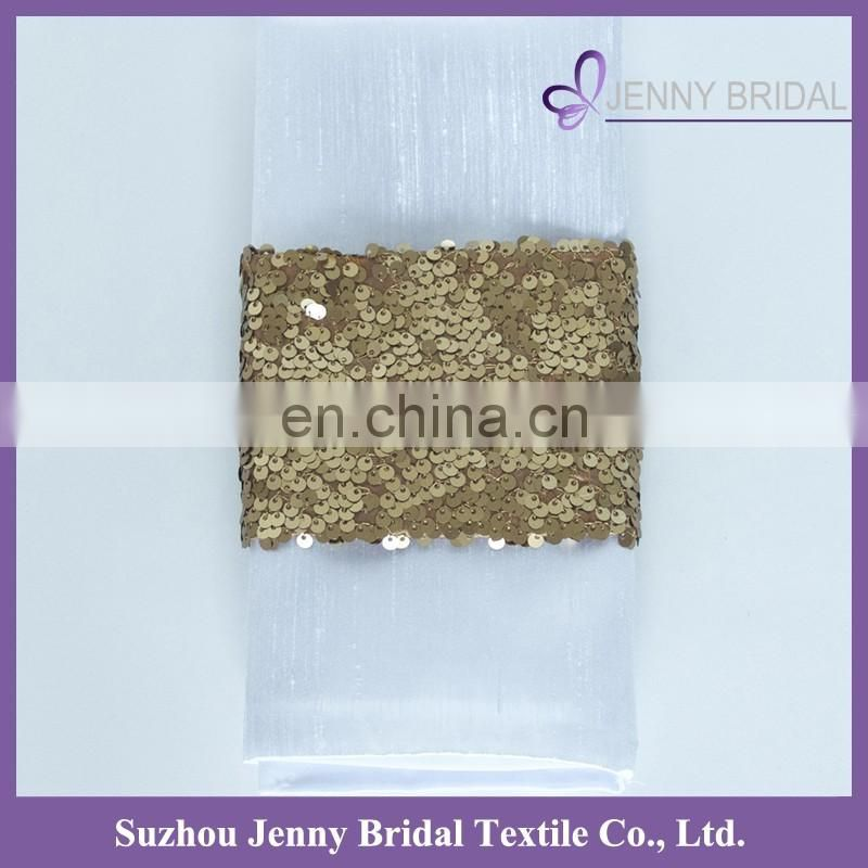 NP020A custom gold sequin fabric personalized napkins straps