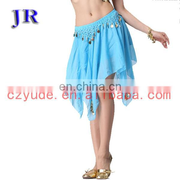 High handmade coins chiffon short belly dance skirt with multy color Q-6018#