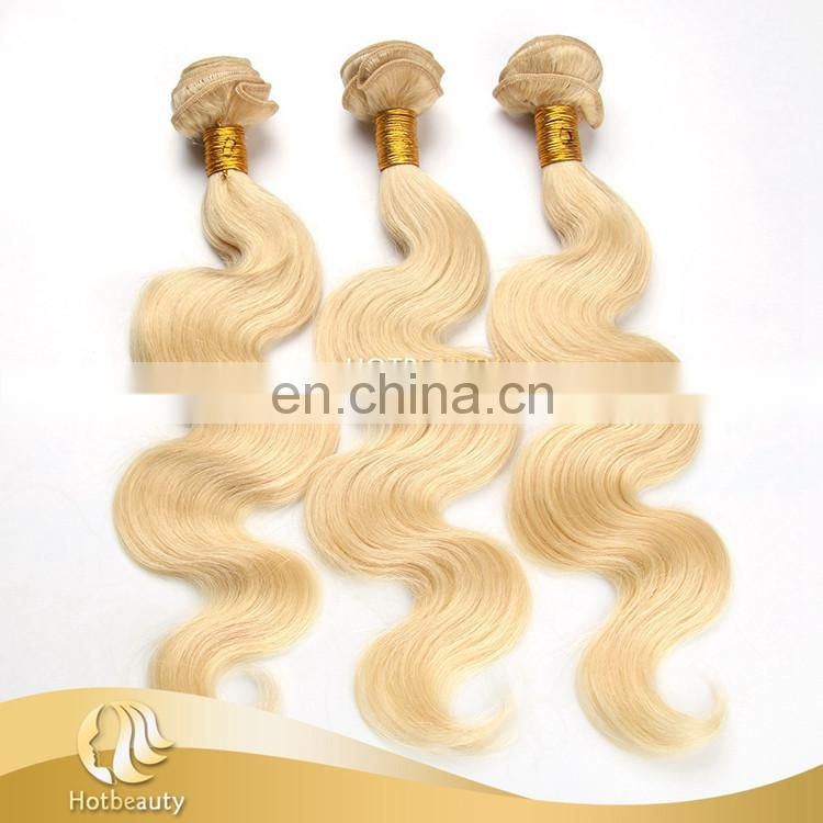 Hot sale natural blonde curly hair extensions, human hair body wave.