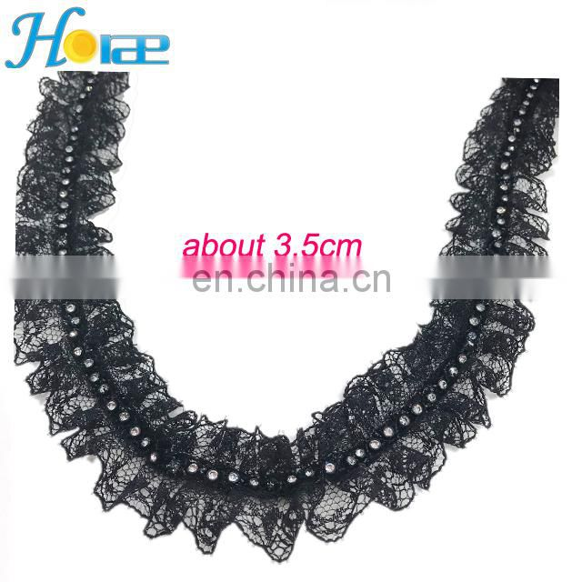 3.5cm new and hot sale crystal lace for girl's dress lace trim for wedding dress