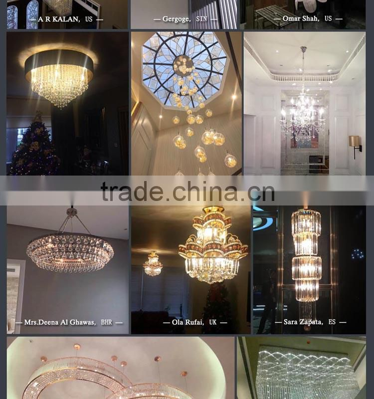 Custom shape and size cheap long ceiling crystal chandelier