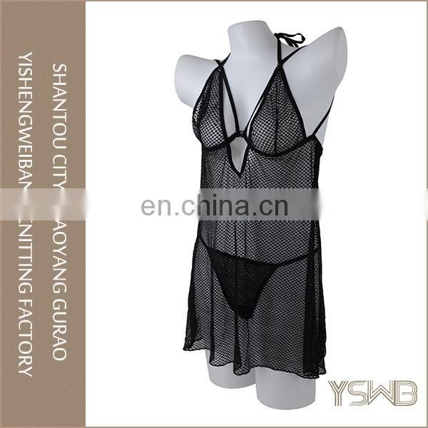 Hot selling thin black mesh transparent sexy mature woman lingerie