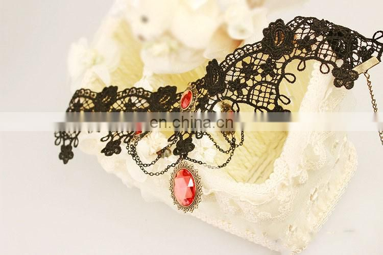 Hot restore ancient ways and beautiful red black lace necklace