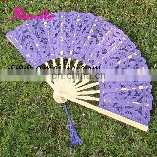Navy blue wedding lace hand fan-Wholesaler Amelie
