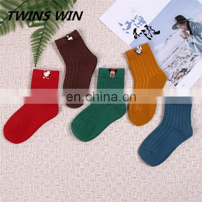 2018 New arrival canada winter warm fashion socks wholesale top quality cartoon colorful girl tube 100% cotton socks