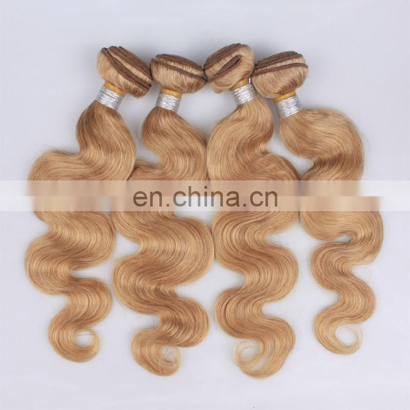 Grade 5a 6a 7a 8a blonde hair extension color 27# body wave malaysian hair 100 real human hair