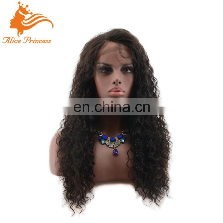 Free Shipping Fashion Side Part Natural Hairline Virgin Brazilian Human Hair Curly Full Lace Wig
