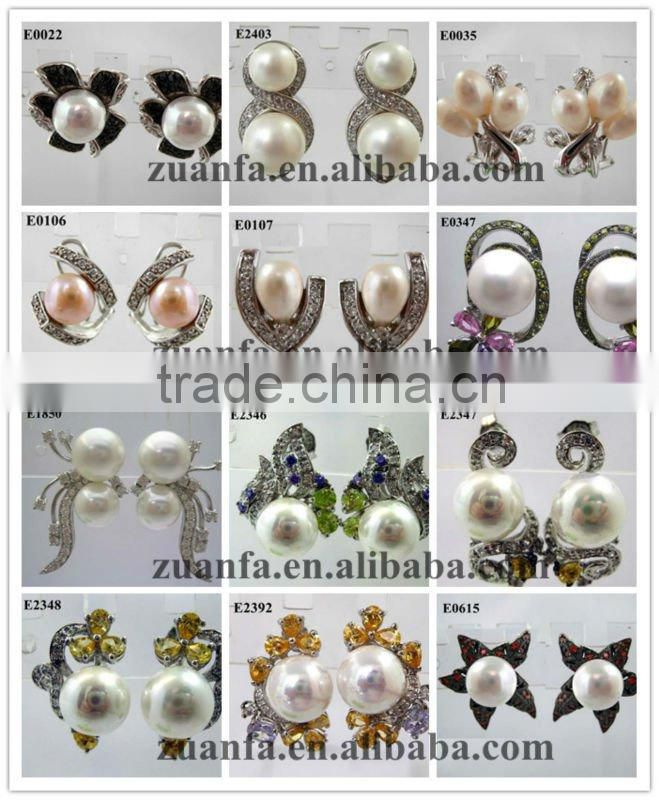 Korean fashion pearl stud cz