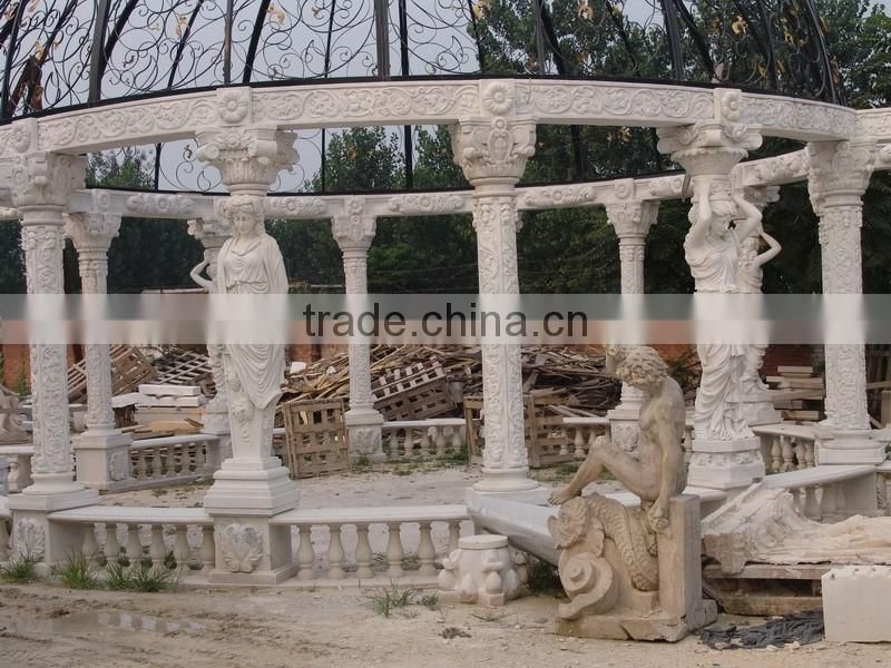 China norton cheap outdoor stone gazebo carving sculptures with iron roof NTMG-278S