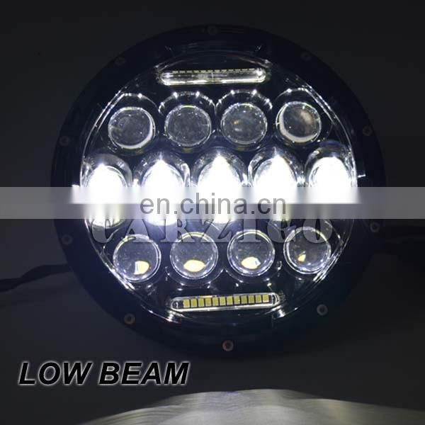"high power fast lead time DC 9-30v 7"" round 75W LED head light for jeep wrangler"