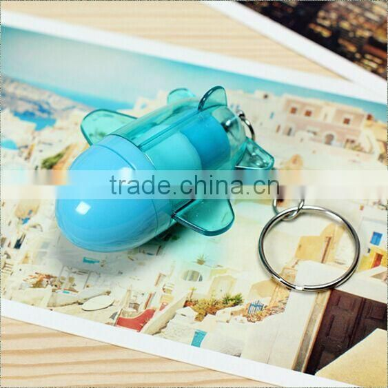 Promotional gift cute mini plane shape telescopic pen with key chain