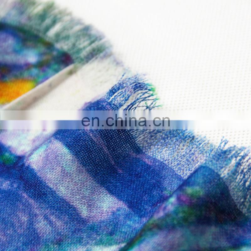 Christmas gift winter digital printing women woolen scarves blue