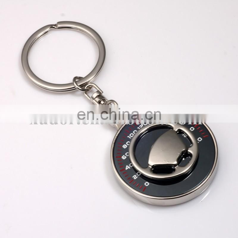 Laser Engraved Custom Car Logo Metal Steering Wheel Key Chain with table