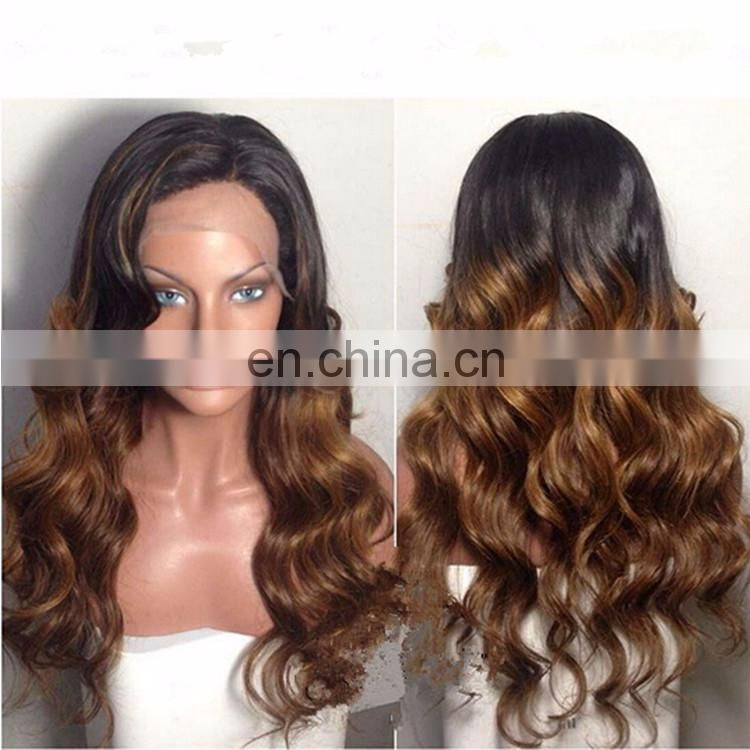 Blonde Human Hair Body Wave Glueless Ombre Lace Front Wig Virgin Peruvian Hair Led Wig With Baby Hair