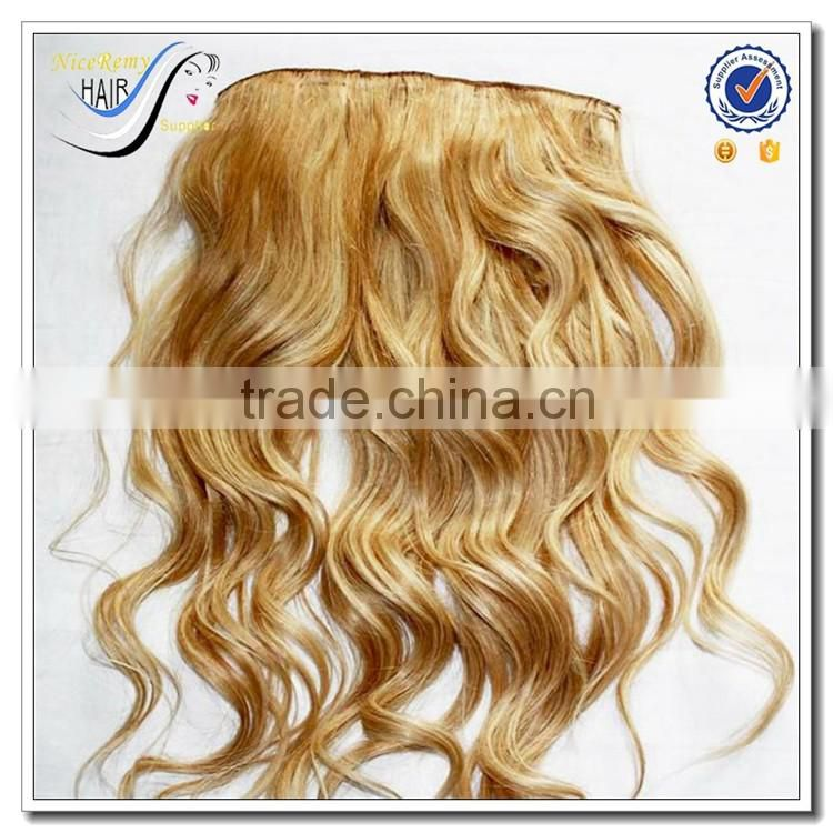Wholesale brazilian virgin human hair natural wave curly blonde clip in hair exxtensions