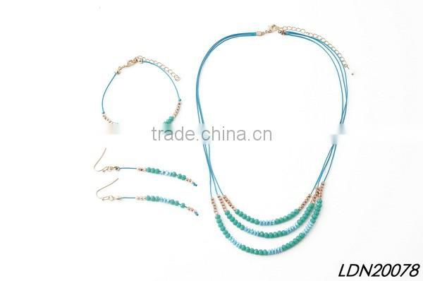 Triple pedant turquoise necklace with matching earrings and bracelet