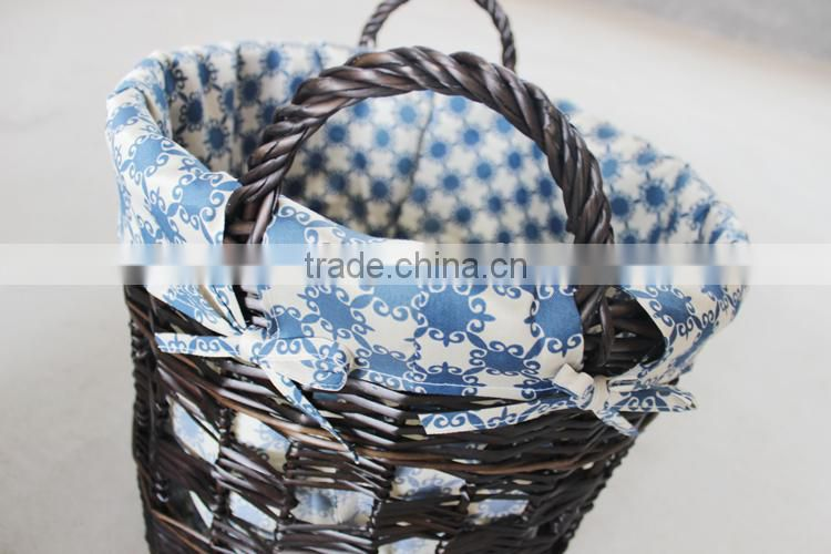 High quality hand knitting black wicker laundry basket
