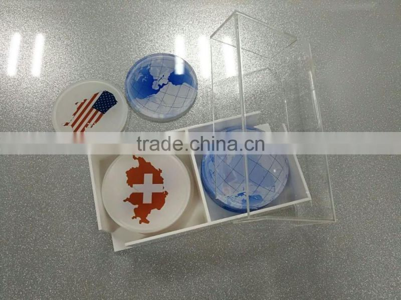 2017 China Factory custom acrylic tea cup coaster/coffee cup coaster