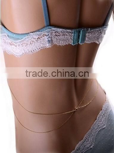 Women Summer Vintage Fashion Sexy Bikini Body Chian Waist Belly Gold Body Chain Necklace