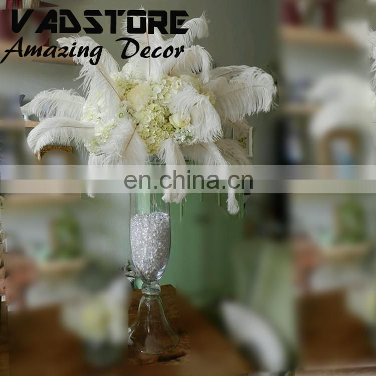 "24""trumpet clear glass vase wedding table centerpiece white ostrich feather wedding decoration gatsby table centerpiece"