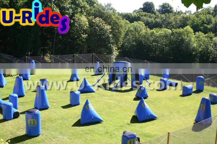 Bigger m shape Dark blue 0.9mm PVC tarpaulin Inflatable paintball arena for shooting games