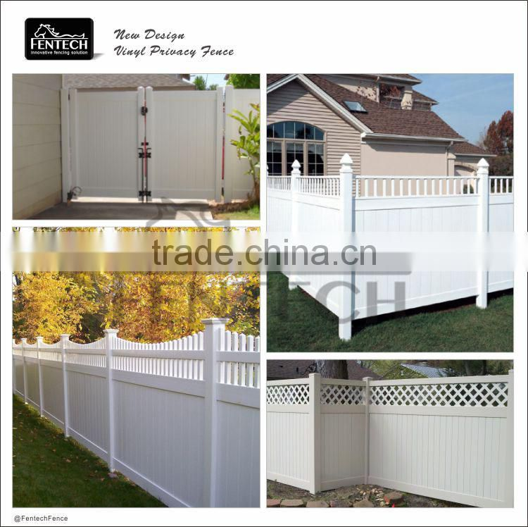 Outdoor White Lattice Top Plastic Privacy Safe Fence for Yard, Child