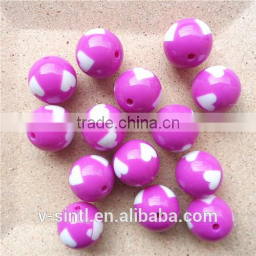 2015 Hot Sale round Loose Heart Solid Resin Bubblegum Chunky Beads for Jewelry Making