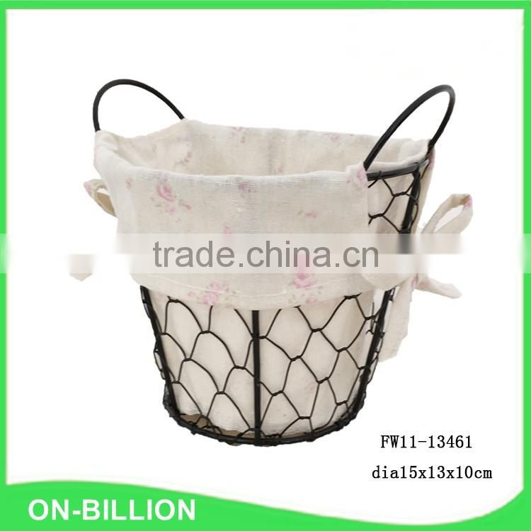 Small wire tabletop basket with liner for sundries storage