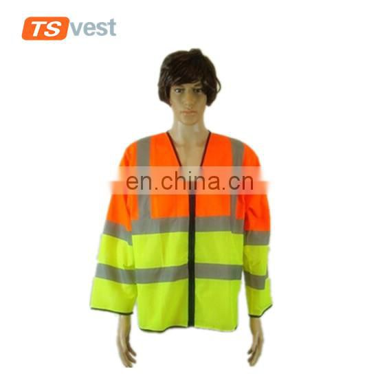 130gsm mesh fabric orange and yellow joint reflective jacket