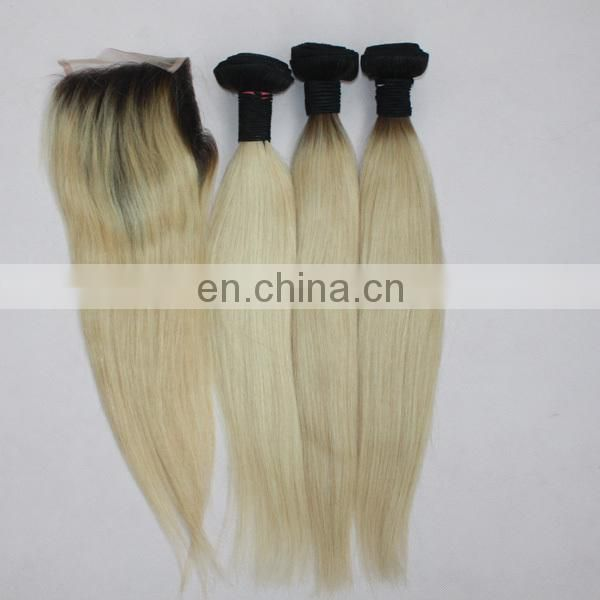 stock cheap two tone color human hair closure 4*4 size #1B/613 ombre lace closure