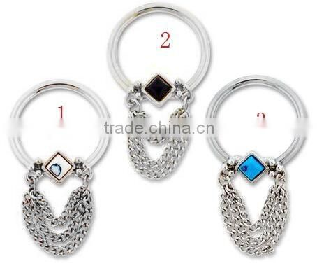 FANCY GEM CAPITAVE BEAD 316L surgical steel Nipple Piercing rings Body Jewelry