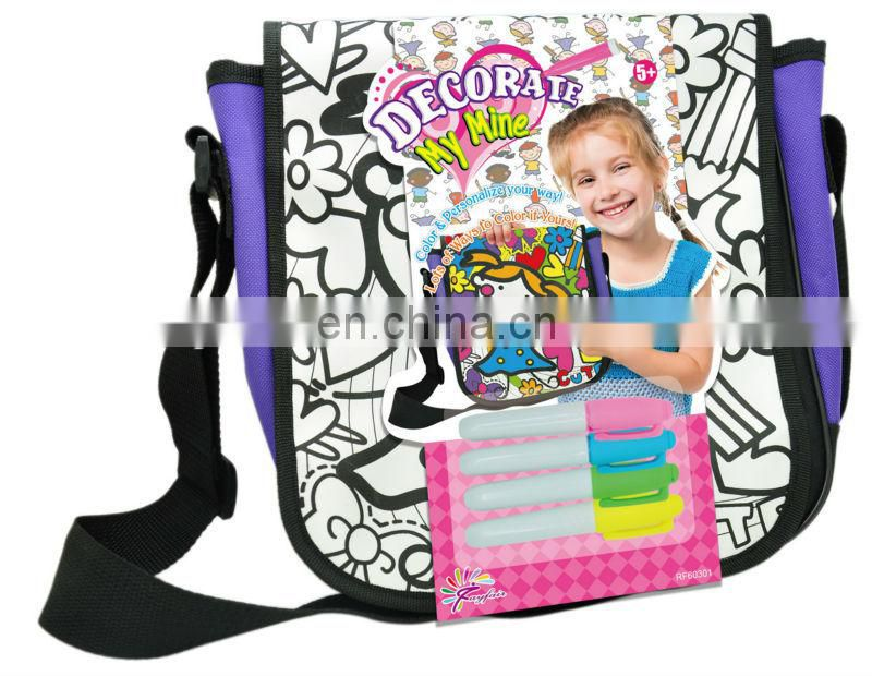DIY painting satin backpack bag for kids with color markers