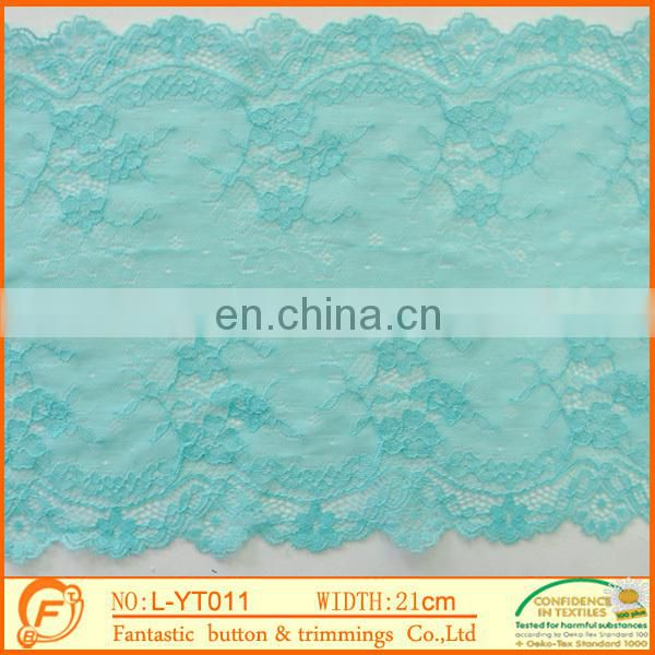 high quality blue flower elastic lace trims for wedding dressings