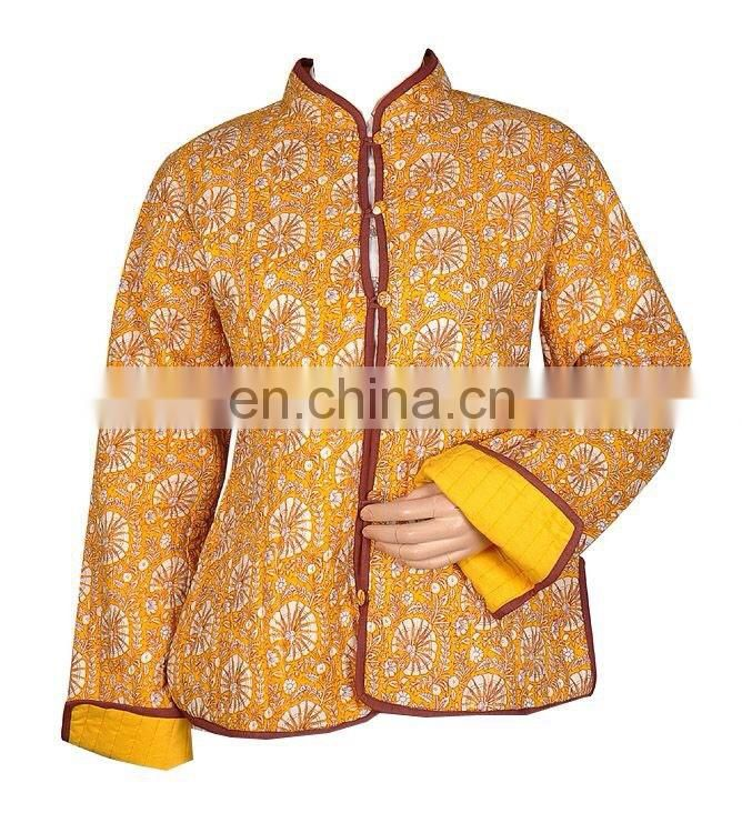 Winter Block Print Handmade Cotton Jacket Winter Women Coat