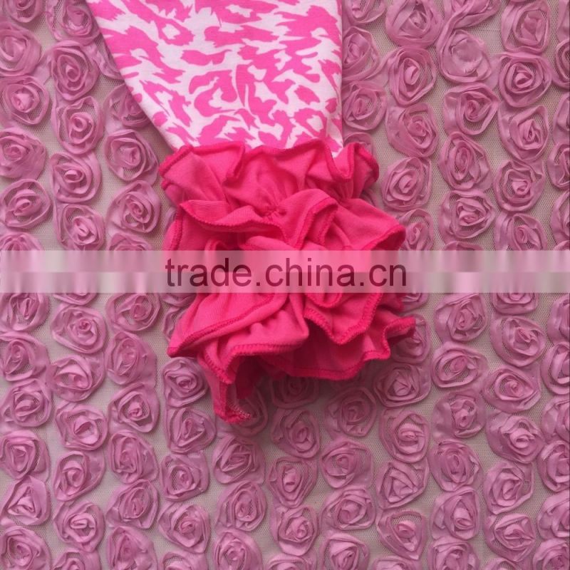 fashionable style wholesale girl's clothes pink leopard print baby leggings with icing ruffle