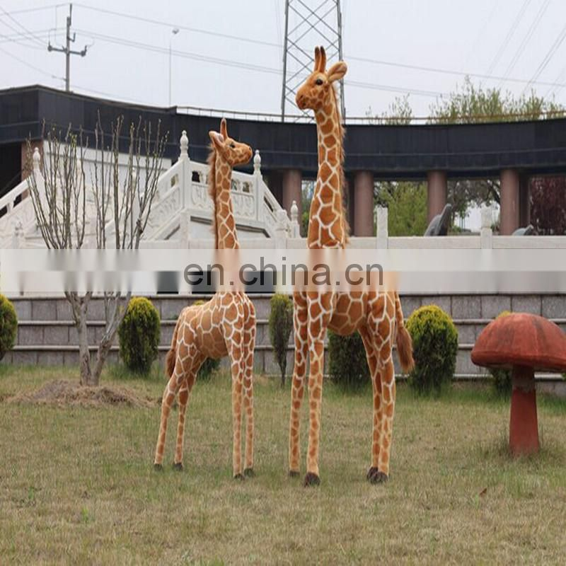 Life size giraff statue ,giant giraffe toy wild animal custom design style giraffe plush toy Stand in a realistic stance.