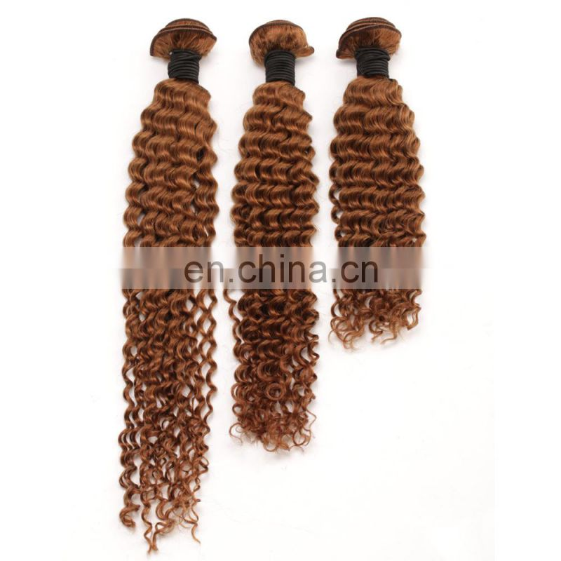 Virgin indian hair raw unprocessed Brown colored curly hair extensions