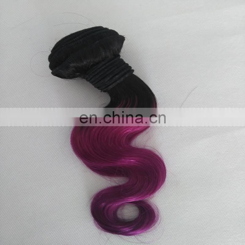 best Selling Two Tone Hair Bundless color 1b/purple Hair Weft Bundles