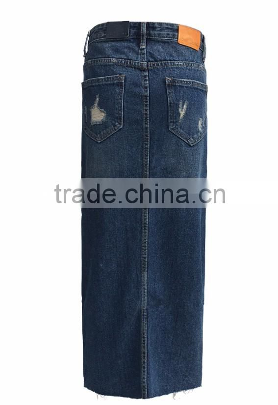 professional jeans manufacture in guangzhou china girls fashion skinny ripped denim jeans women long skirts