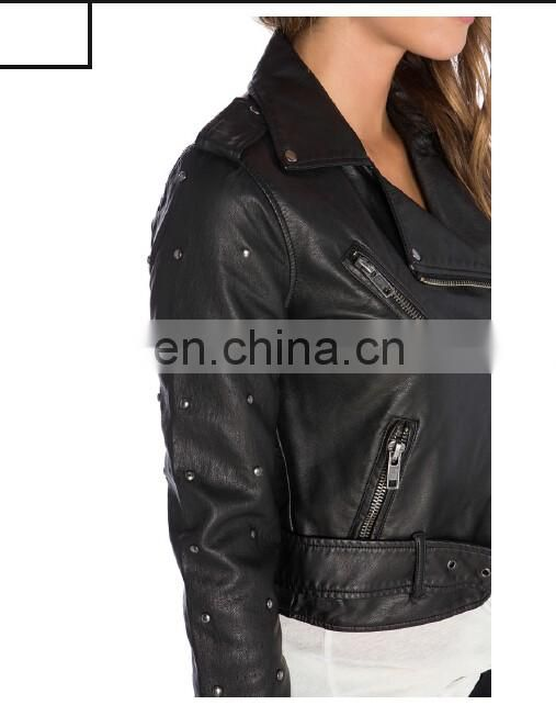 Winter Faux Leather Jacket Bolero Imitation Leather Jacket bomerJacket Blazer with decoration pins studs