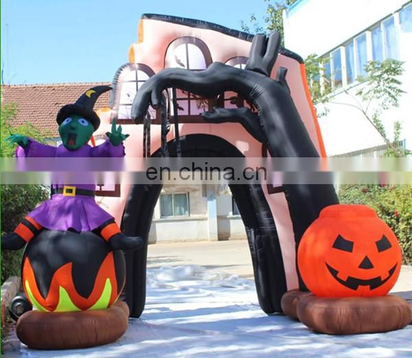 halloween inflatable arch with pumpkin and ghost