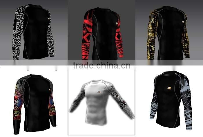 New 2016 Fashion Cheap Wholesale Compressed T shirt black color fitness compression shorts