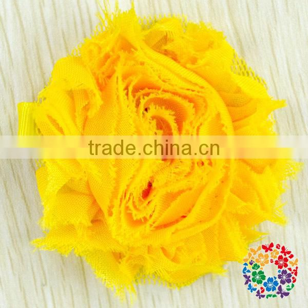 2015 Wholesale Beautiful Purple Artificial Chiffon Flower Shabby Flower Hair Clips For Kids & Girls